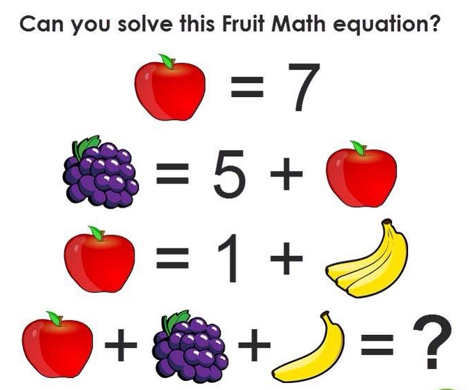 Can you solve this fruit Math question?   PiTribe