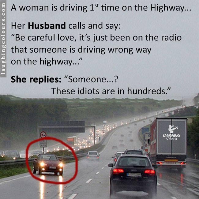 The Justified Stupidity of a woman - Joke driving,stupidity,female,joke