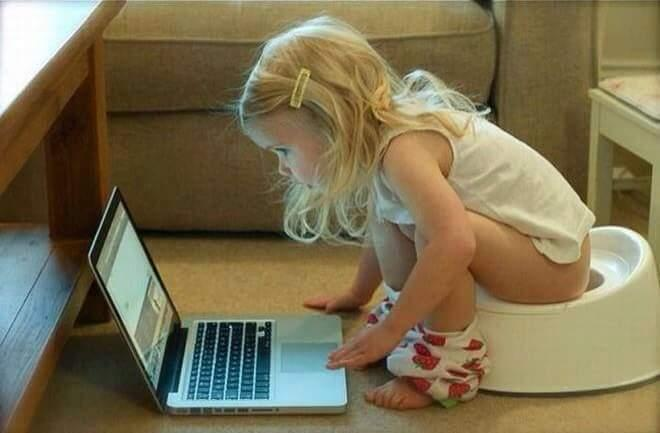 Technology Craze in Young Generation at it's Heights potty,laptop,craze,[Technology]