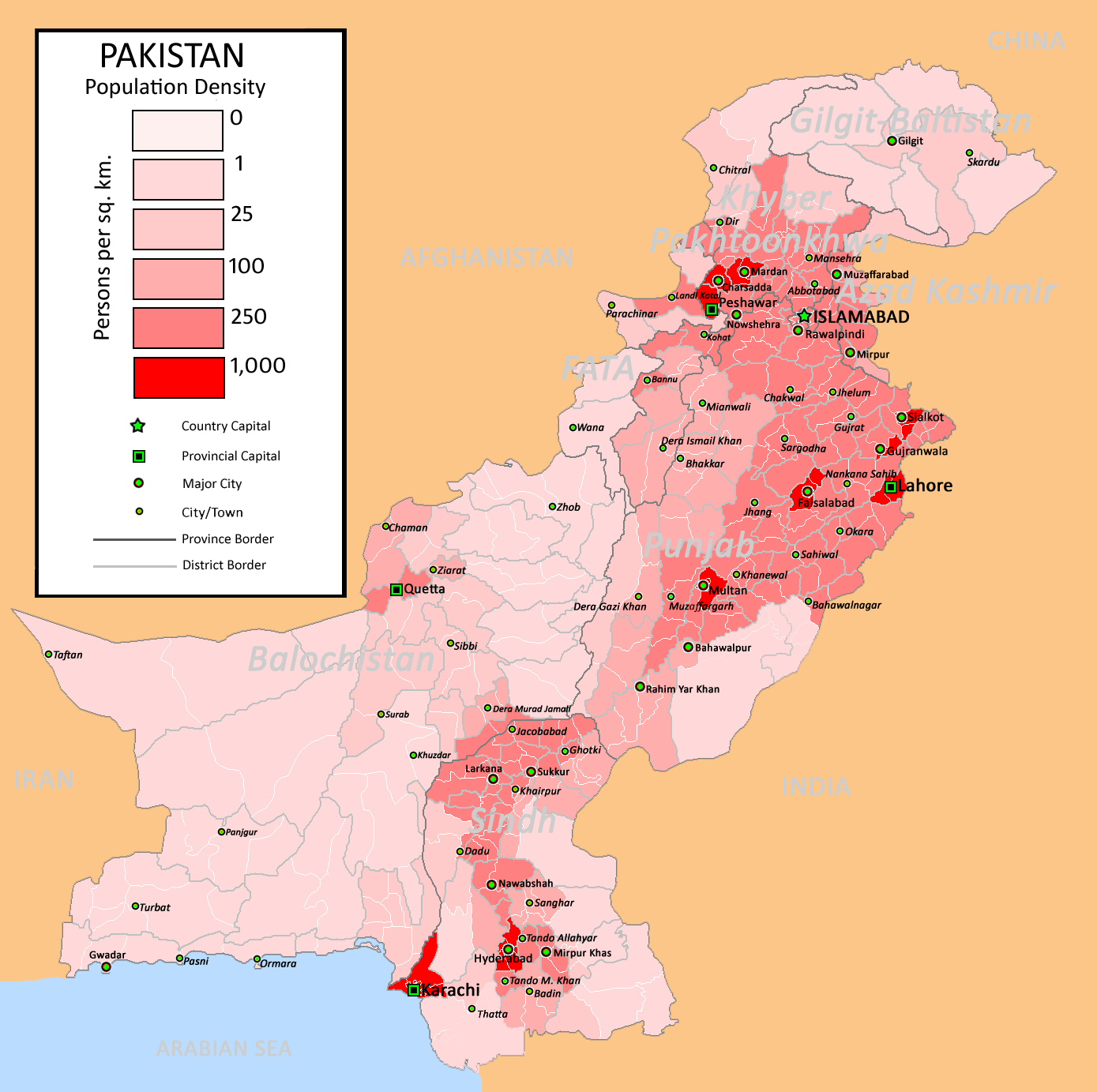 Pakistan Population Density map,population,density,infographic