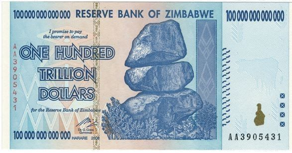 100 Trillion Dollar Bill/Note of Zimbabwe paper,currency,economy,collapse